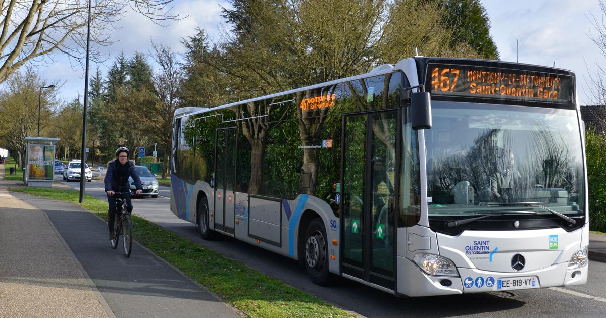 Bus SQY et cycliste